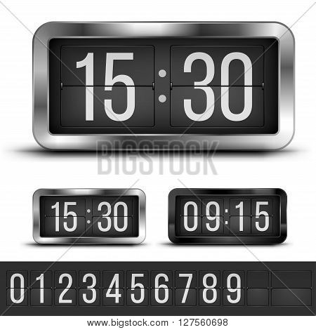 Analog flip clocks silver and blacks retro designs with numbers template, vector illustration