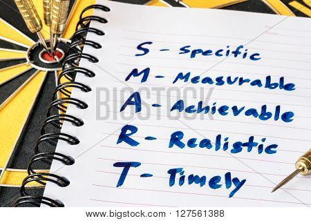 Words SMART in notebook and dart target on bullseye of dartboard Goal target success business investment financial strategy concept abstract background