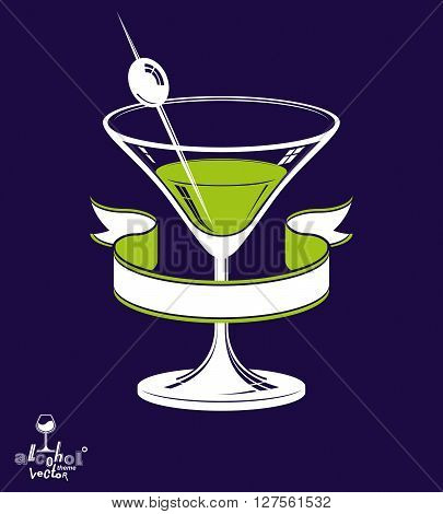 Realistic 3d martini glass with olive berry and classic ribbon alcohol theme illustration.