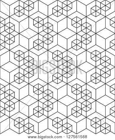 Rhythmic contrast textured endless pattern with cubes continuous black and white geometric background.