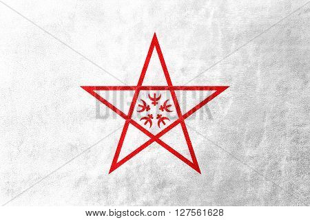 Flag Of Nagasaki, Japan, Painted On Leather Texture