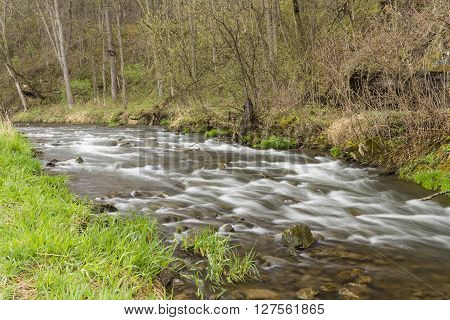 A river with rapids in the woods during spring.