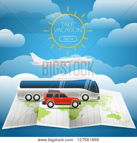 Different vehicle tour concept. Summer holidays