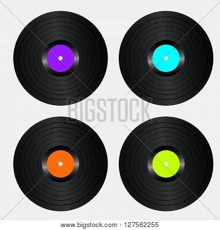 Vinyl Record. Realistic Vector Illustration