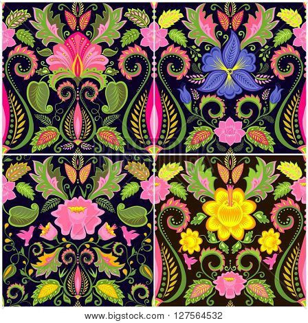 Vintage wallpapers with exotic flowers