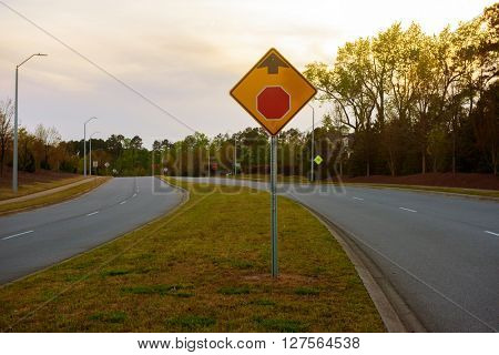 Stop sign ahead on a side walk