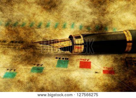 Fountain Pen On Financial Report