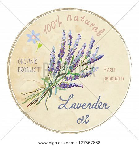 Lavender oil design label vector illustration. Suitable for a natural products cards backgrounds.