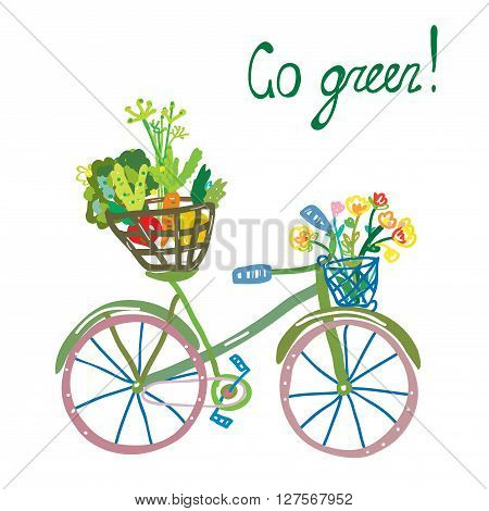 Go green eco card with bicycle and organic food. Funny design for vector illustration or card.
