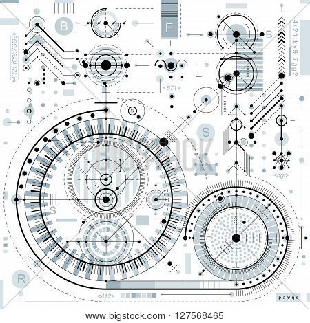 Technical drawing with dashed lines and geometric shapes vector futuristic technology backdrop engineering draft.