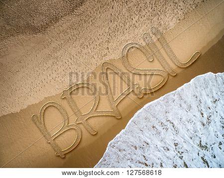 Brazil (in Portuguese) written on the beach