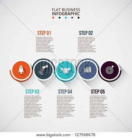 Flat circles with long shadows for infographic. Template for diagram, graph, presentation and chart. Business concept with 5 options, parts, steps or processes. Data visualization.