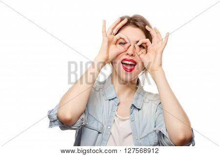 Young Happy Woman Doing Finger Mask Happy White Background