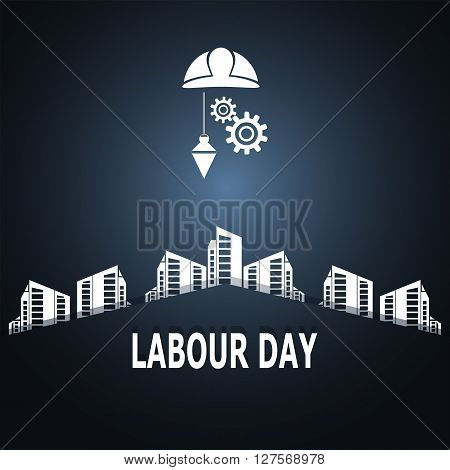 Labour day text construction concept vector illustration