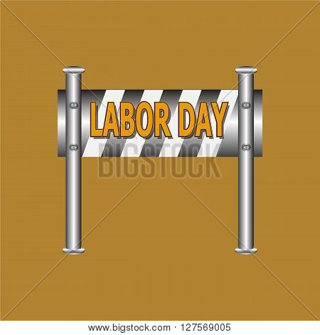 Labor day text on barricade sign vector illustration
