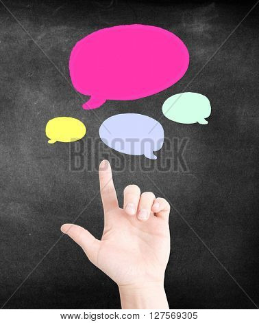 Speech bubbles and a hand