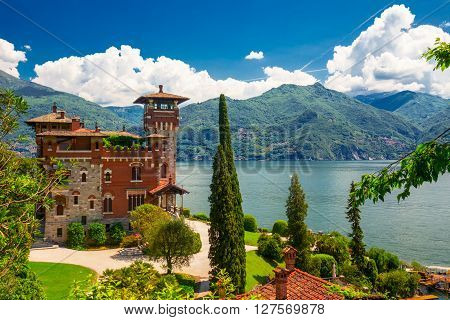 SAN SIRO ITALY- May 17 2015 - Villa La Gaeta Lake Como Italy Europe. Villa was used for film scane in movie James Bond.