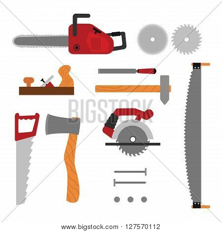 Vector flat  set of constuction tool for wood house building. Axe, saw, nail, planer, disk saw cartoon illusrtration