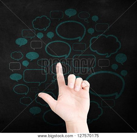 Communication concept with hand and speechbubbles