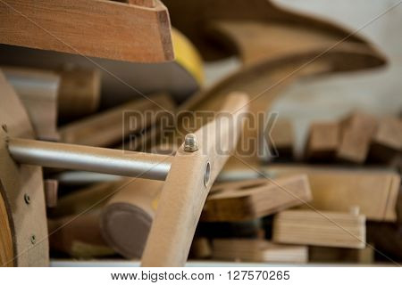 Zoom of piece of wood on the workshop