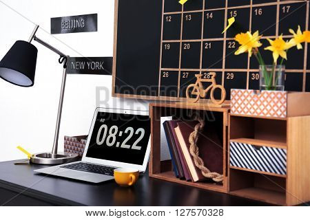Stylish dark color workplace