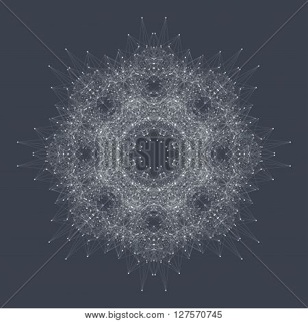 Geometric abstract round form with connected line and dots. Graphic composition for medicine, science, technology , chemistry.  Vector illustration.