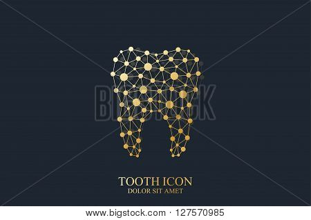 Tooth vector template icon with connected lines and dot. Medical design. Oral care dental clinic.