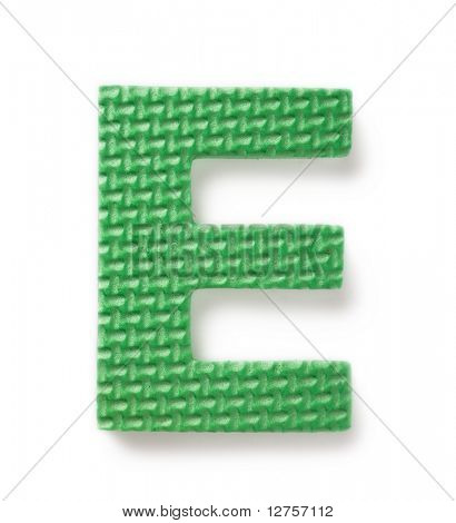 Letter E isolated on the white background
