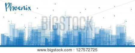 Outline Phoenix Skyline with Blue Buildings. Vector Illustration. Business travel and tourism concept with modern buildings. Image for presentation, banner, placard and web site.