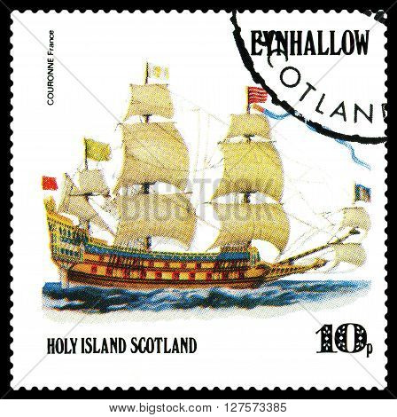 STAVROPOL RUSSIA - APRIL 09 2016: a stamp printed by Scotland shows old Sailing ship Couronne France circa 1984 .