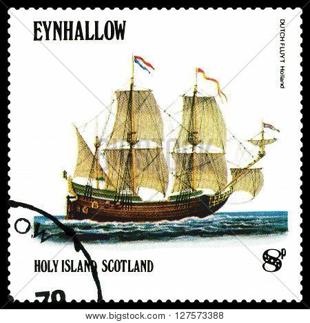 STAVROPOL RUSSIA - APRIL 09 2016: a stamp printed by Scotland shows old Sailing ship Dutchfluit Holland circa 1984 .