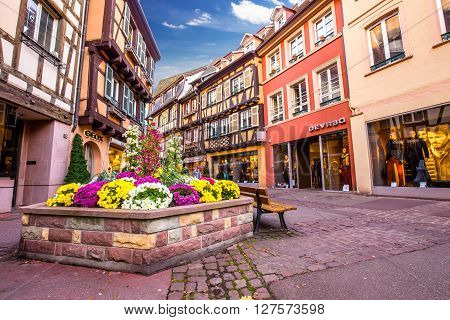 Colmar France - November 8 2014: Colmar street view to colorful traditional France houses