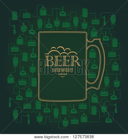Card template - green mug with label on background with beer brewery elements, icons. Brewing process, brewery elements, traditional beer crafting. Vector