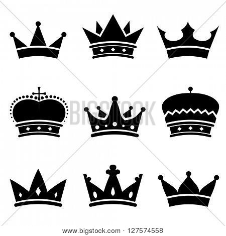 Crown shapes vector set. Black and white crown silhouettes for design and prints.