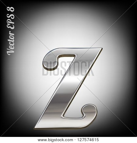 Vector letter z from metal alphabet. Lovercase metal font collection. EPS 8