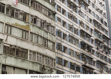 Detail of old, run down apartment block in Hong Kong