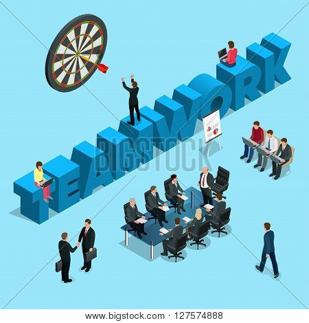 Concept for business people teamwork, human resources, career opportunities, team skills, management, for website banner and landing page. Flat 3d isometric vector business concept