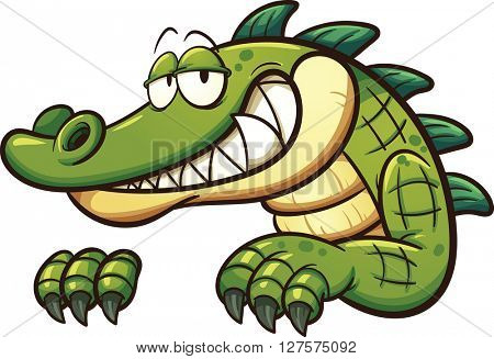 Cartoon crocodile. Vector clip art illustration with simple gradients. All in a single layer.