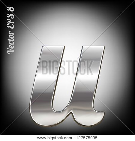 Vector letter u from metal alphabet. Lovercase metal font collection. EPS 8