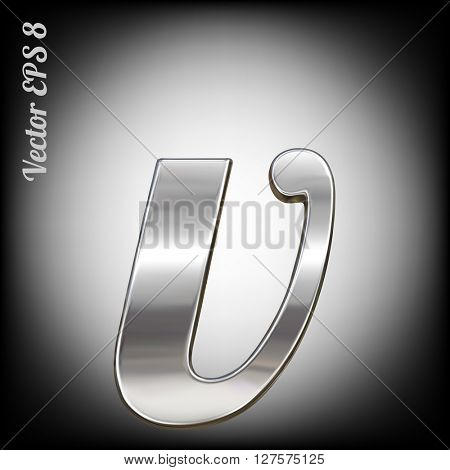 Vector letter v from metal alphabet. Lovercase metal font collection. EPS 8