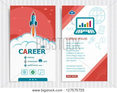 Career and concept background with rocket. Project Career concepts and Set of Banners. Vector Illustration. Eps10 Format.