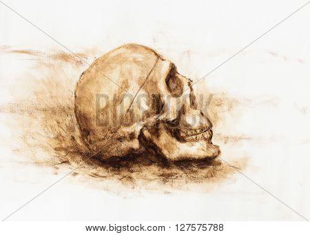 skull painting on paper. Ochre color skull