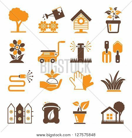 collection of garden icons in orange color theme