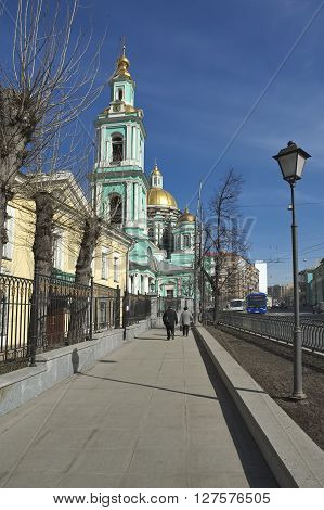 MOSCOW, RUSSIA - MARCH 19, 2015: City landscape. View on Epiphany cathedral in Yelokhovo (1835-1853) Spartakovskaya street 15 Empire style architect E.D. Tyurin landmark
