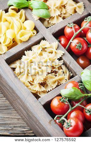 Mix Of Italian Pasta, Tomato And Basil