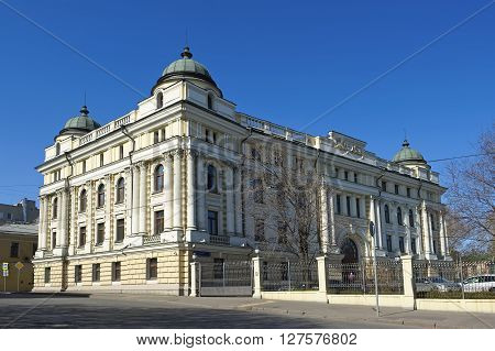 MOSCOW, RUSSIA - APRIL 12, 2016: Former multi prestigious profitable house Kremlin embankment 1 Building 2 built in 1889 architect S. Eybushiets