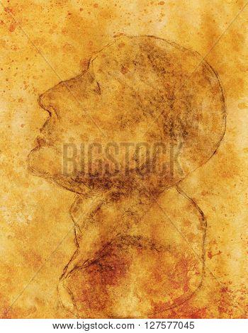 Hand drawn man head, Gypsum bust drawn