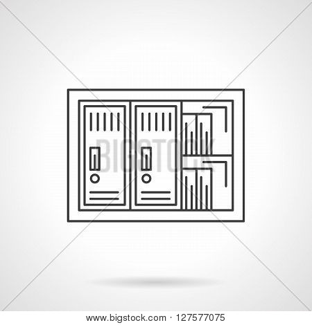Safe box for office documents and papers. A front view of lockers and shelves. Flat line style vector icon. Single design element for website, business.