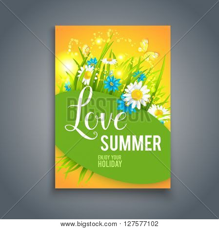 Positive summer card. Nature template for design banner,ticket, leaflet, card, poster and so on.