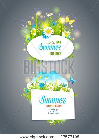 Summer banners on dark backdrop. Nature templates for design banner, invitation, ticket, leaflet, card, poster and so on. Place for text.